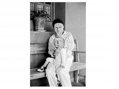 Nadja Massun: Portrait avec masque, 2003  Analog and Digital print/ 56 X 43.2 cm